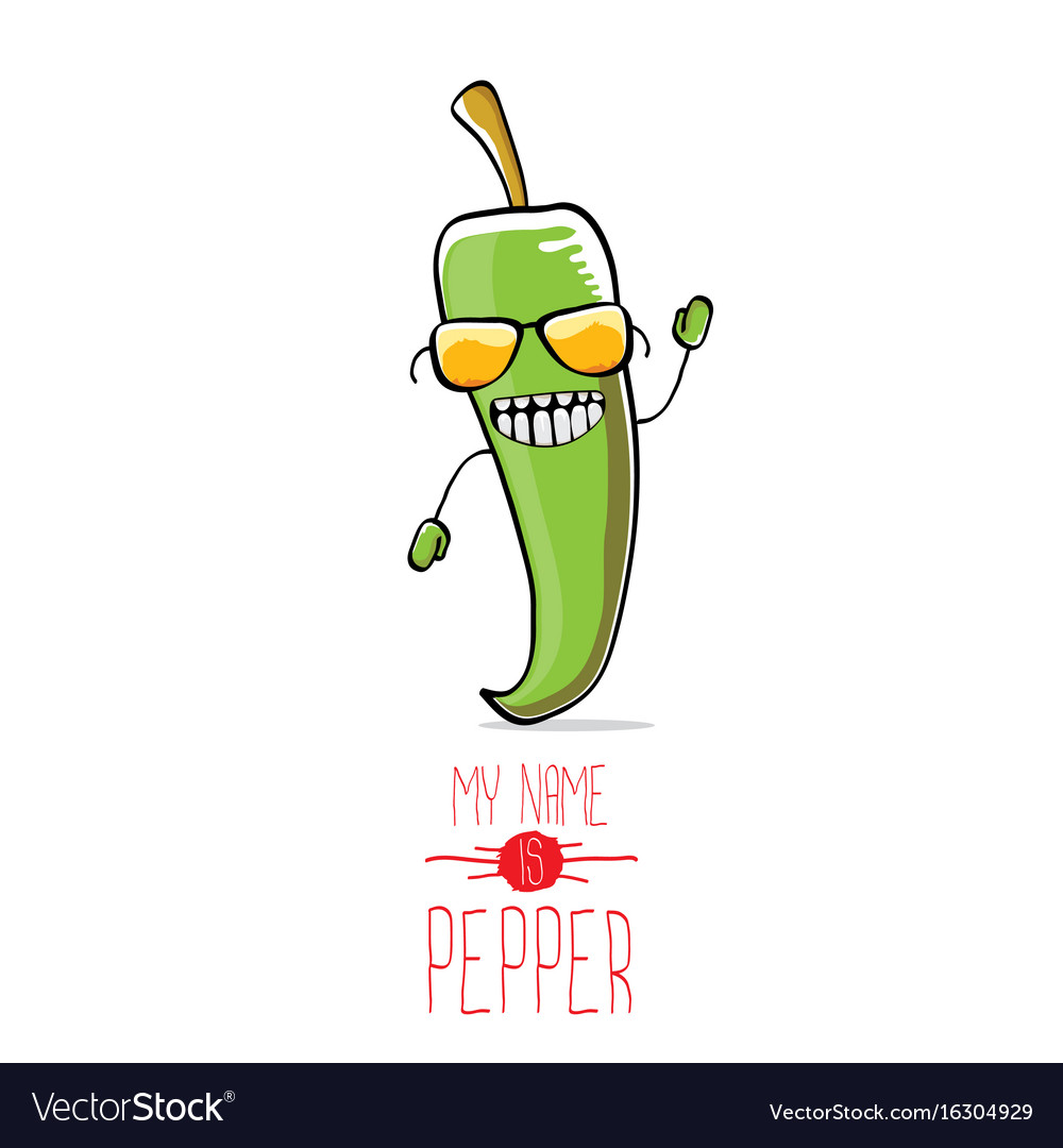 Funny cartoon green pepper character