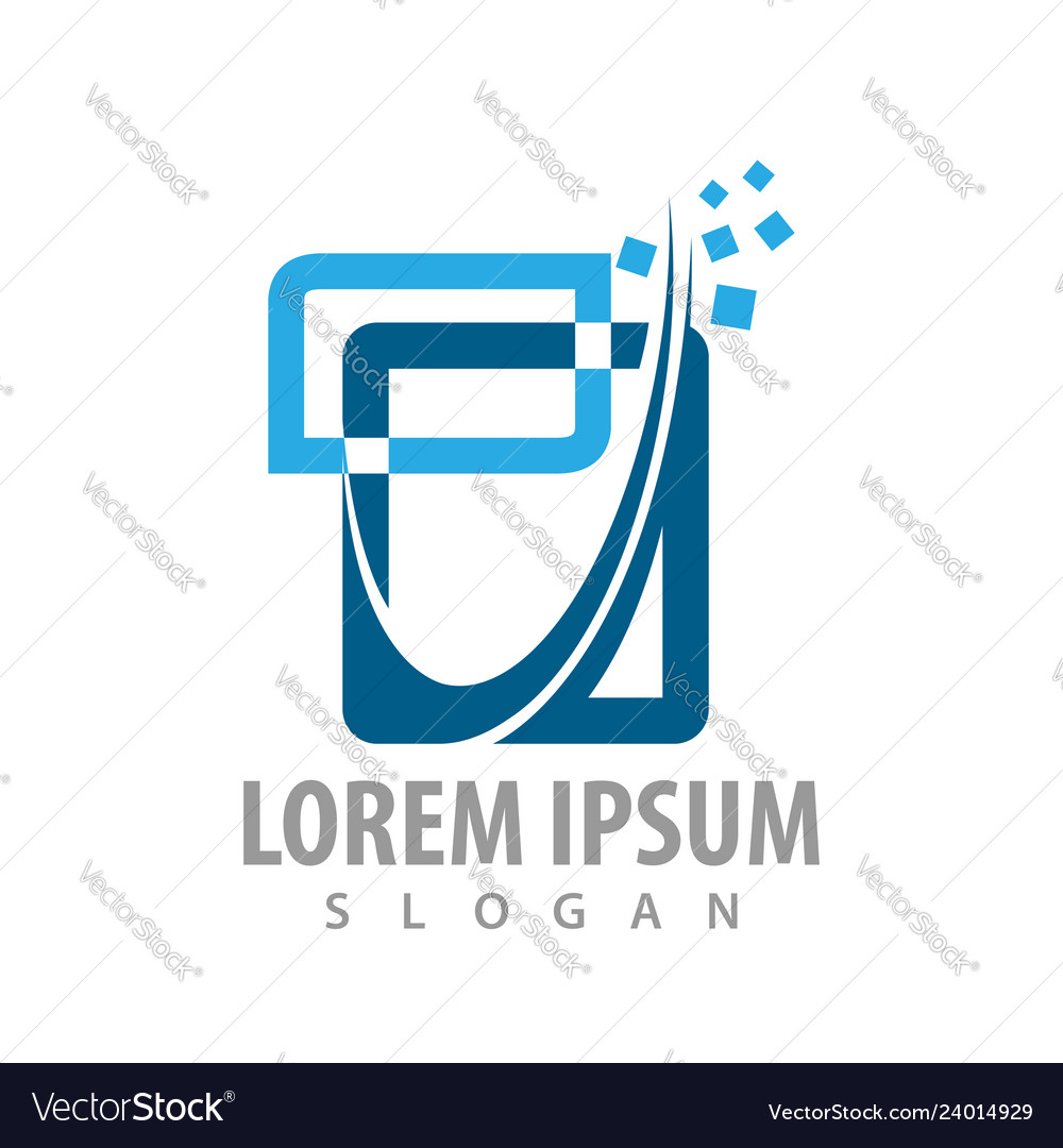 Logo concept design abstract digital square
