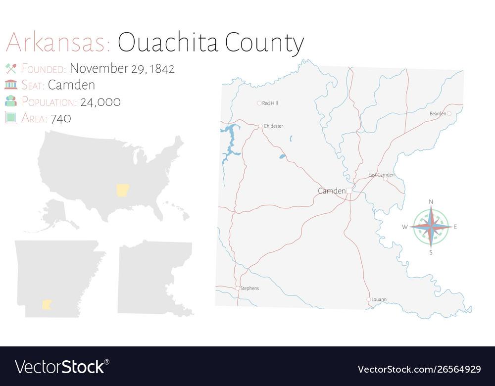 Map ouachita county in arkansas