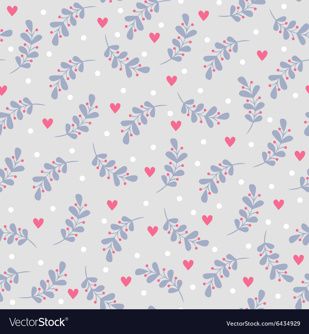 Seamless pattern with leaves and hearts