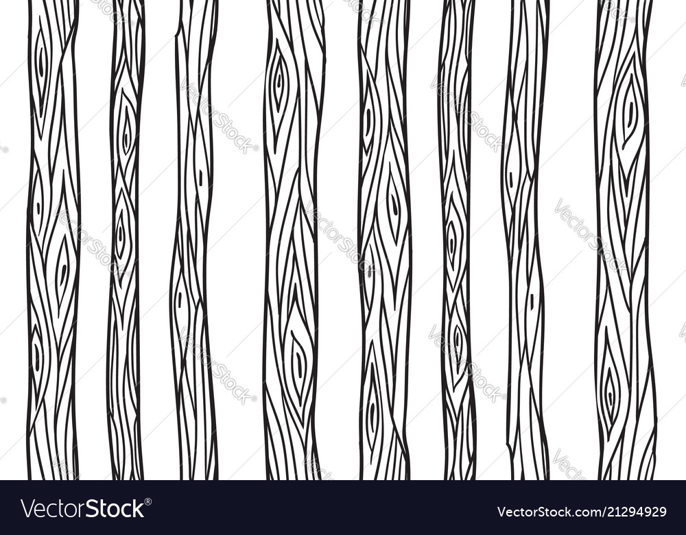 Line The Art Element : Seamless texture with doodle tree trunks element vector image