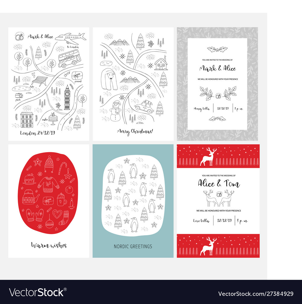 Set christmas and happy new year greeting cards vector