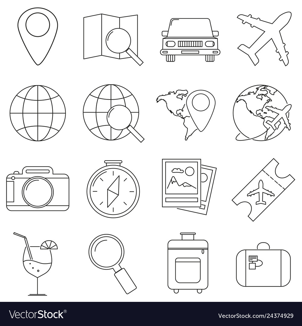 Set of icons in the style of lines a compass