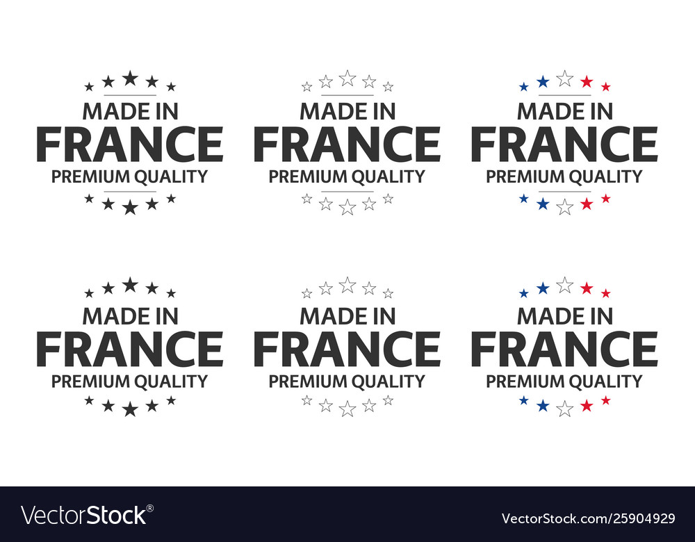 Set six french icons made in france symbols