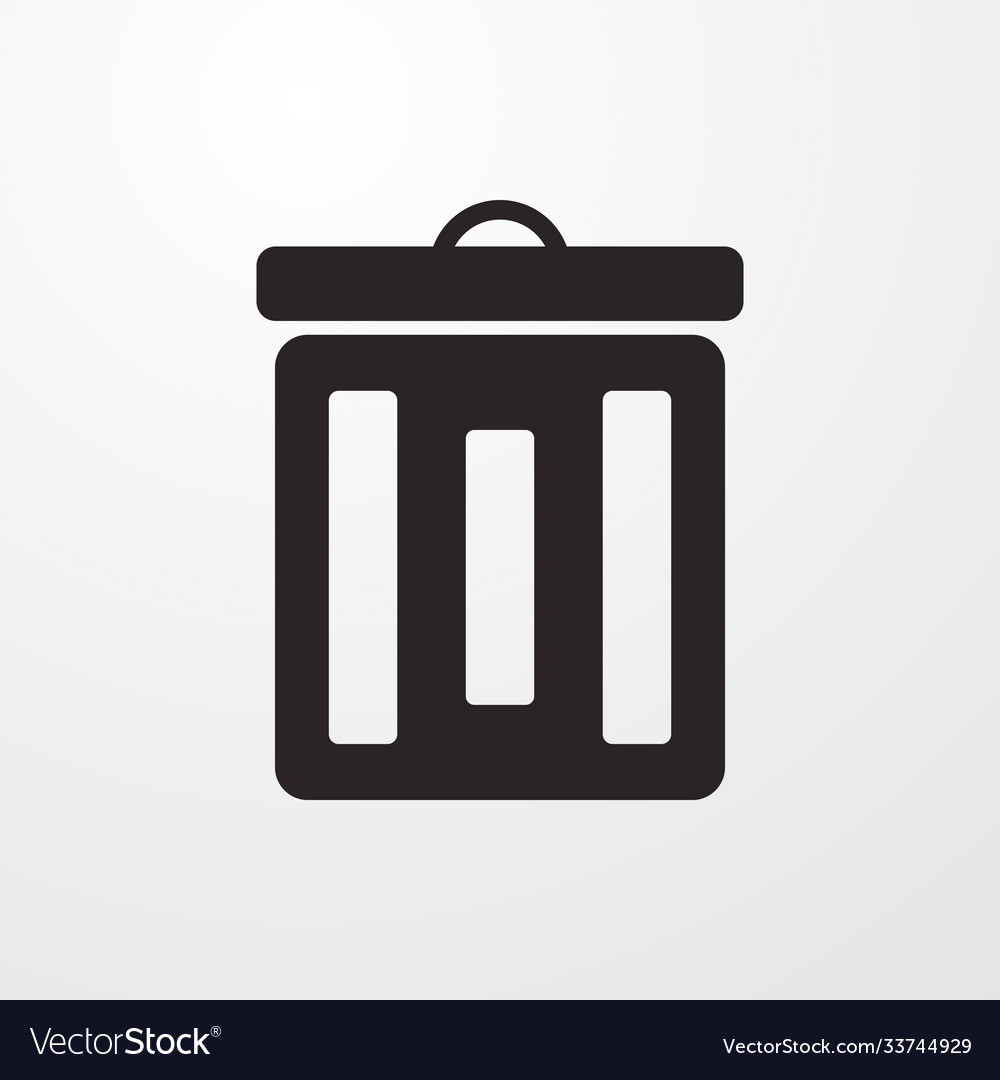 Trash box sign icon flat design style