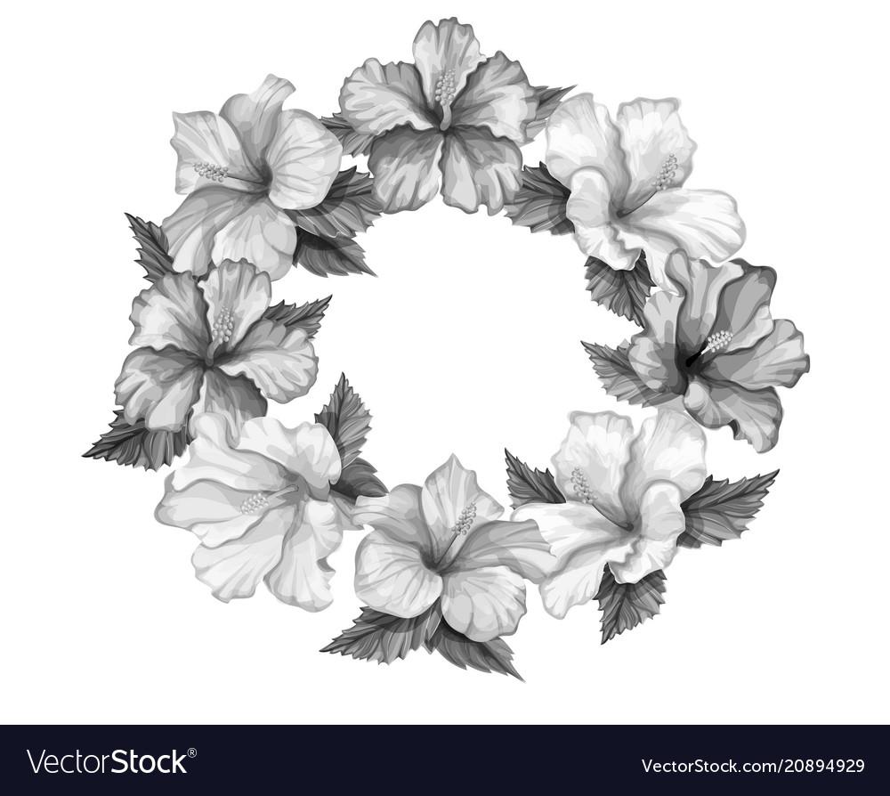 Tropical leaf hibiscus flower frame banner