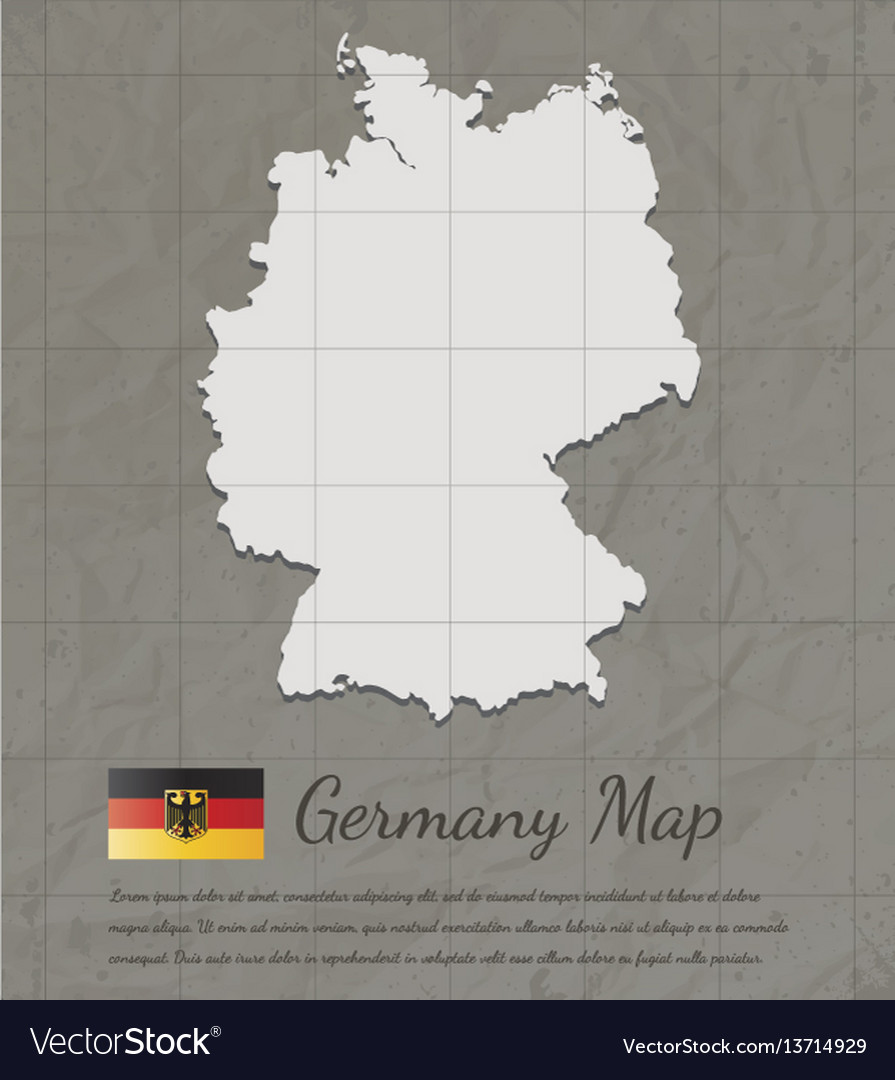 Vintage germany map paper card map silhouette