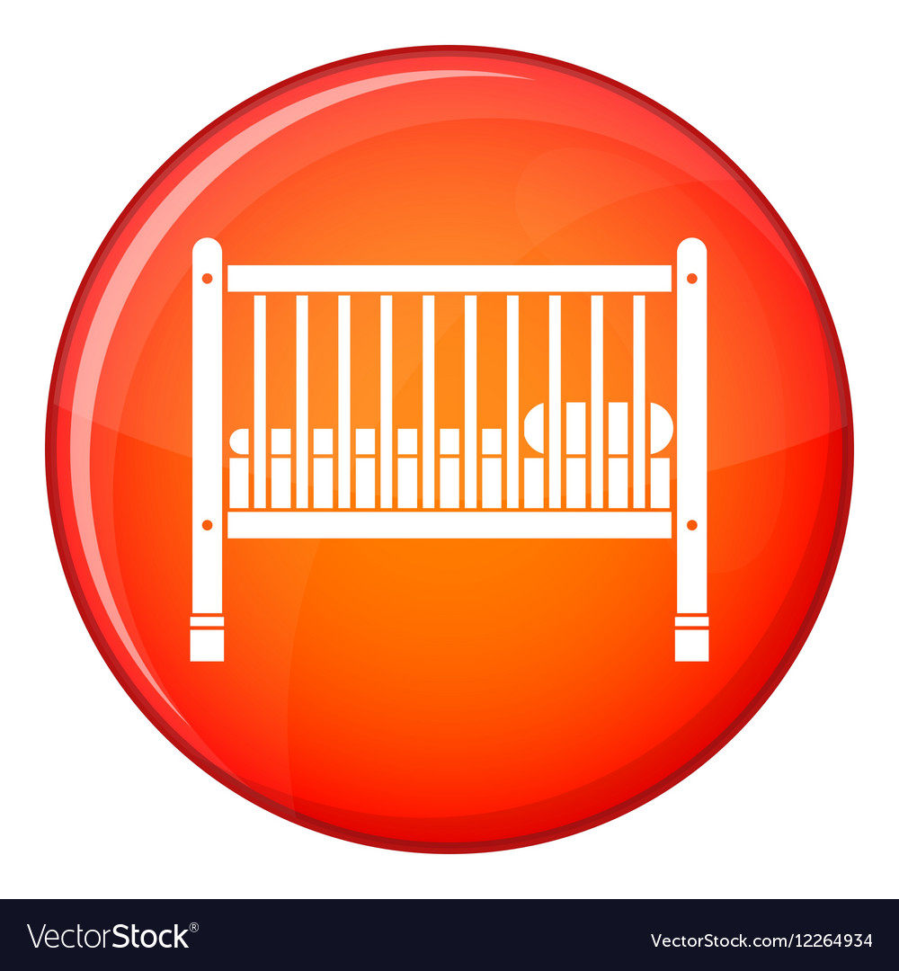Baby bed icon flat style vector image