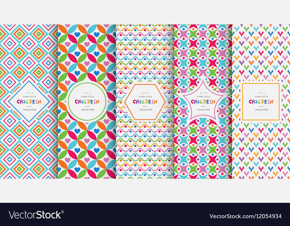 Bright colorful seamless patterns for baby style vector image