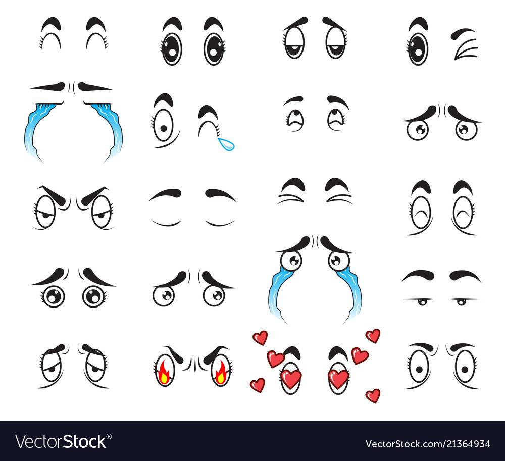 Collection cute cartoon eyes set