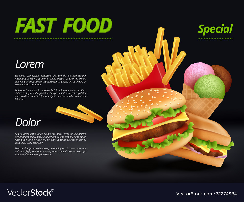 Fast food poster burger ingredients beef tomato
