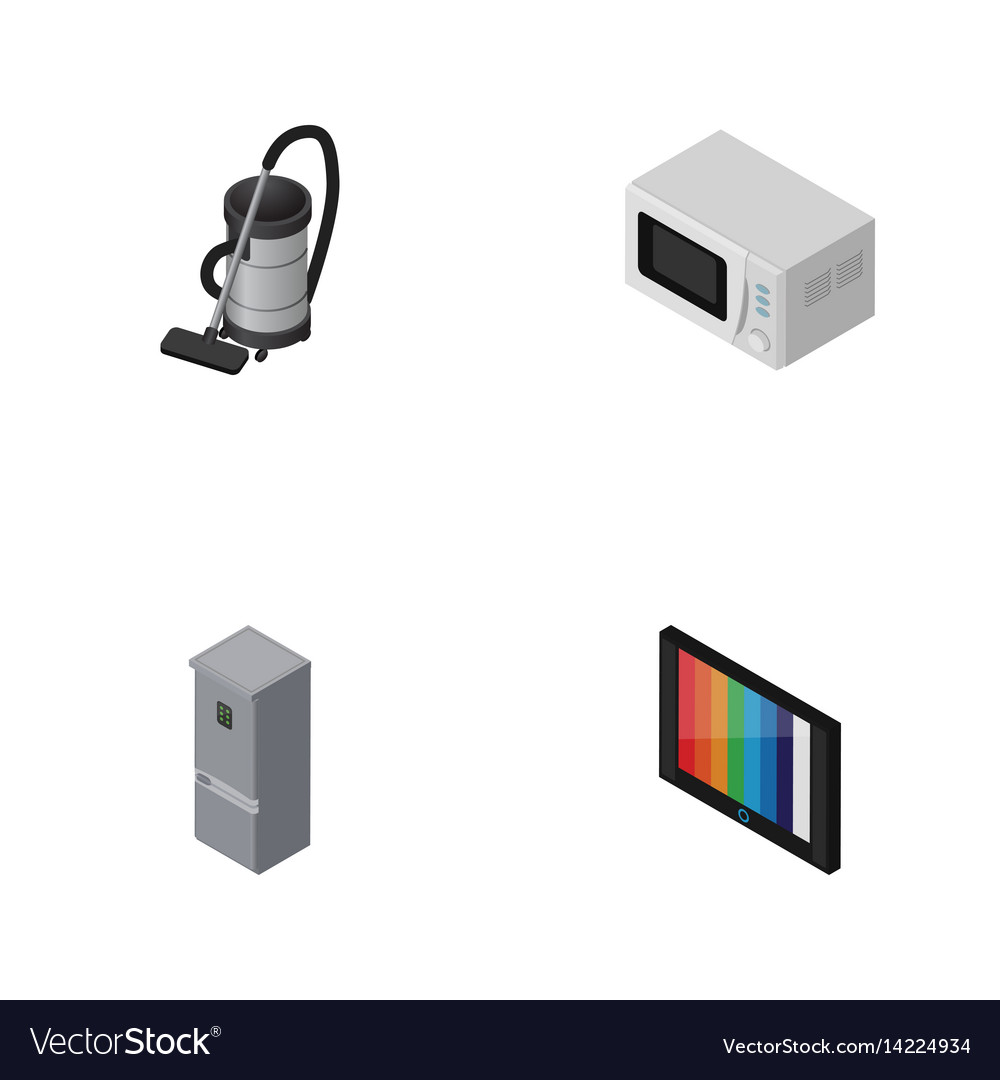 isometric electronics set of kitchen fridge vac vector image