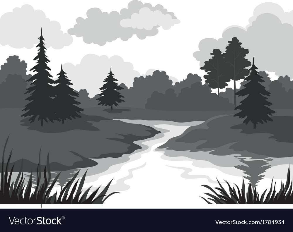 Landscape trees and river silhouette