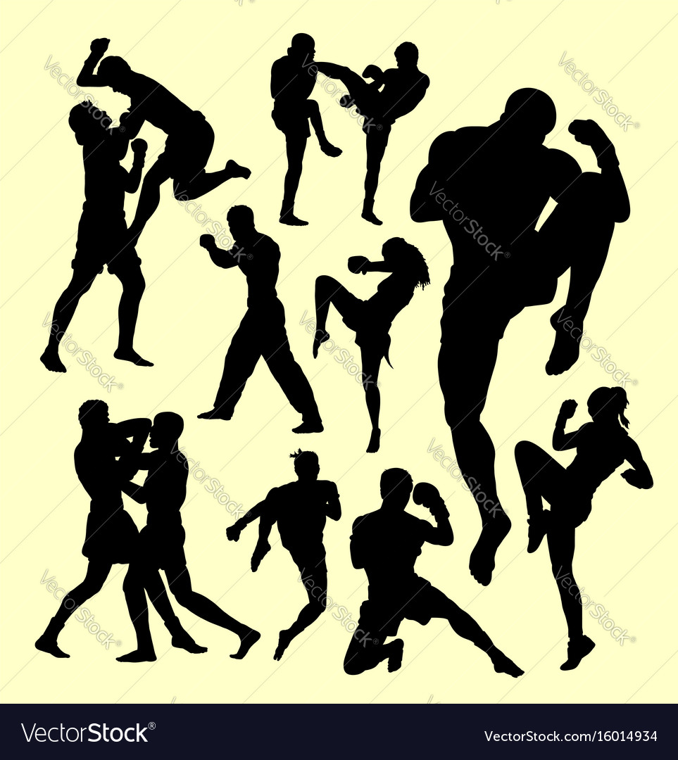 Muay thai boxing sport silhouette