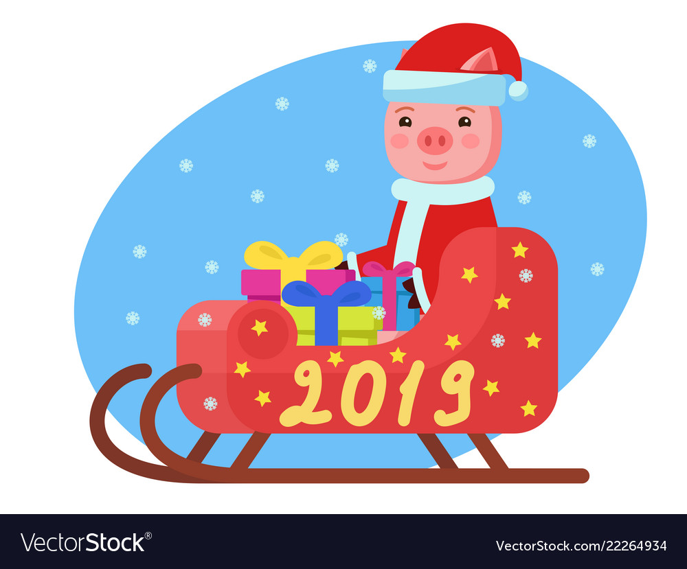 Pig in costume sits in a sleigh with gifts