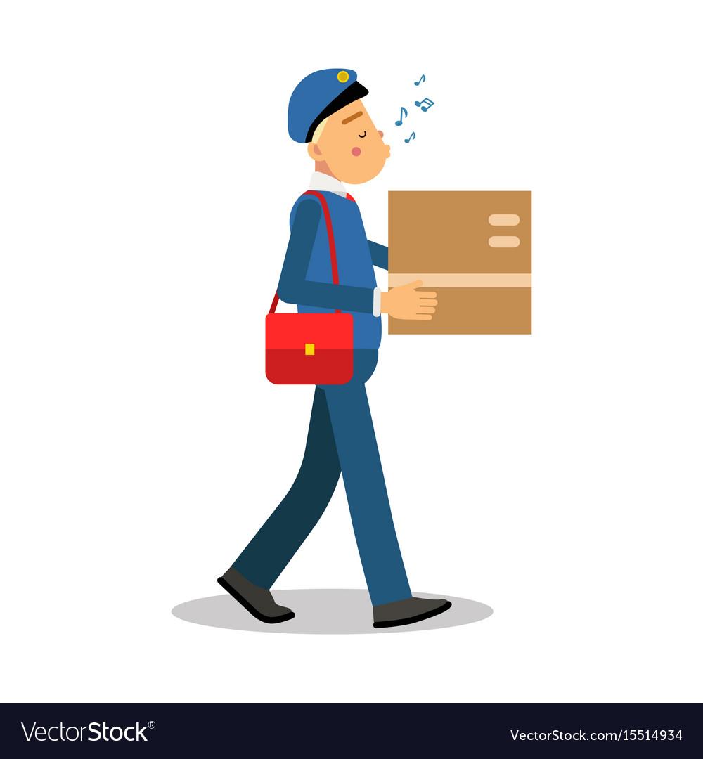 Postman in blue uniform delivering cardboard box
