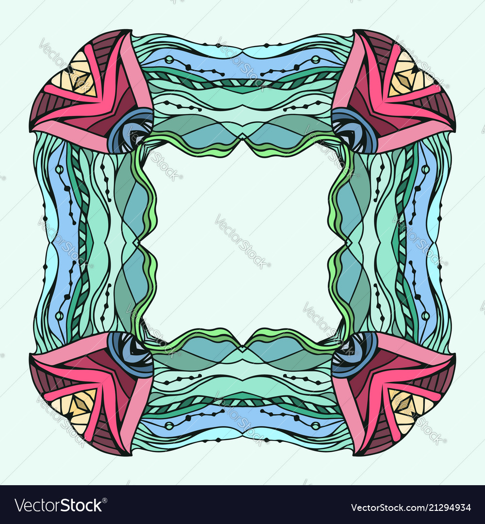 Square colorful doodle frame with space for text