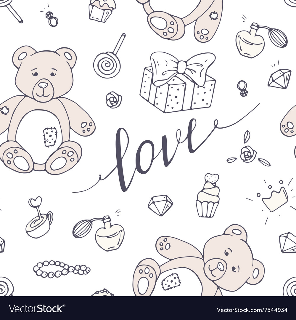 Valentines day seamless pattern with LOVE hand