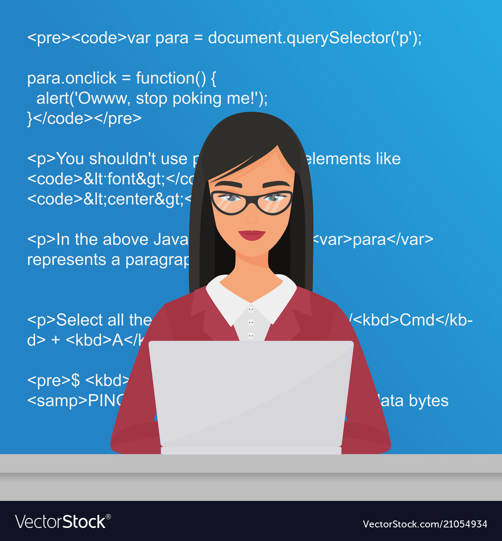 Young pretty woman programmer sitting at the