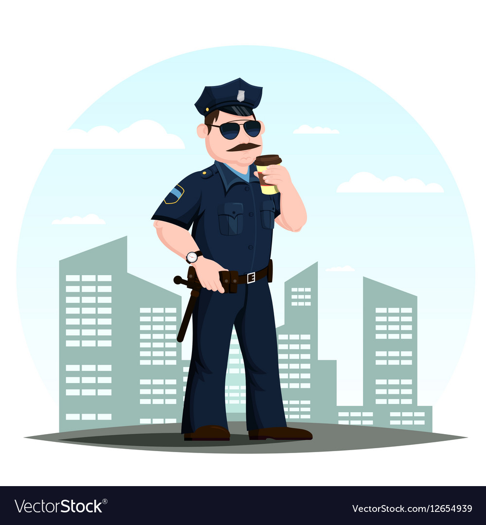 American police officer or patrolmen with coffee