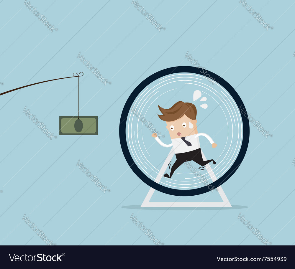 Businessman running in hamster wheel vector image