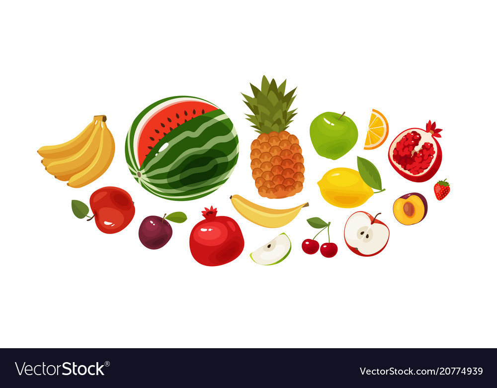 Fresh fruit banner food icon set cartoon