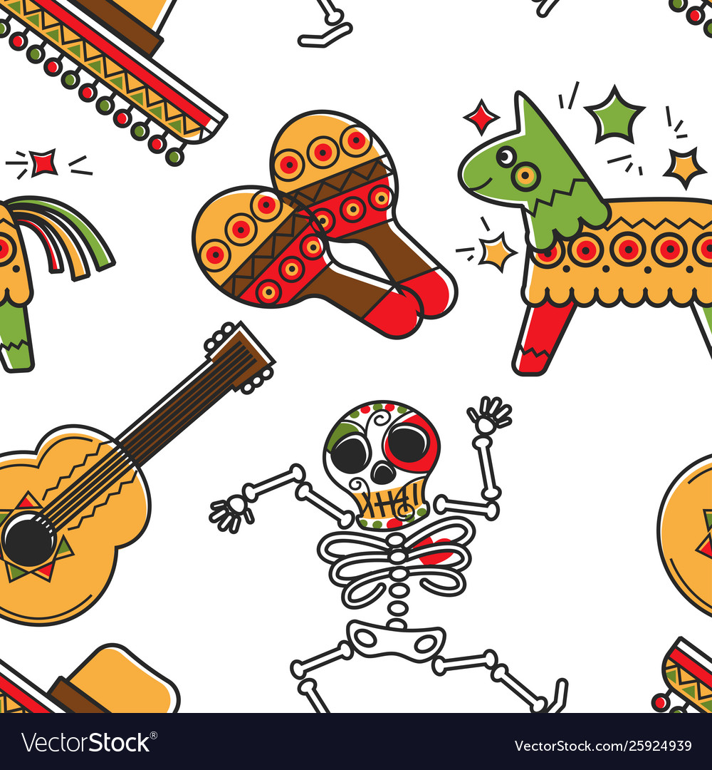 Mexican culture and mexico symbols skeleton