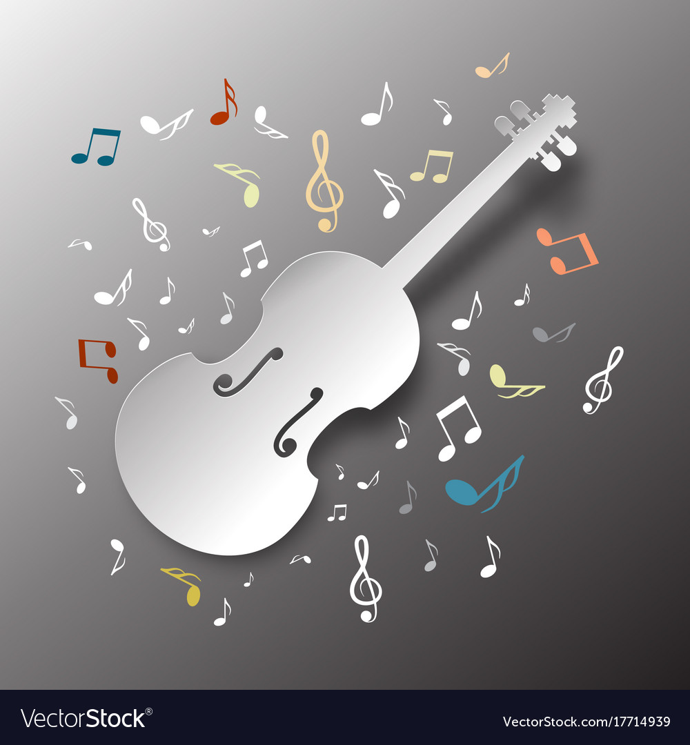 Music background paper cut violin with notes vector image