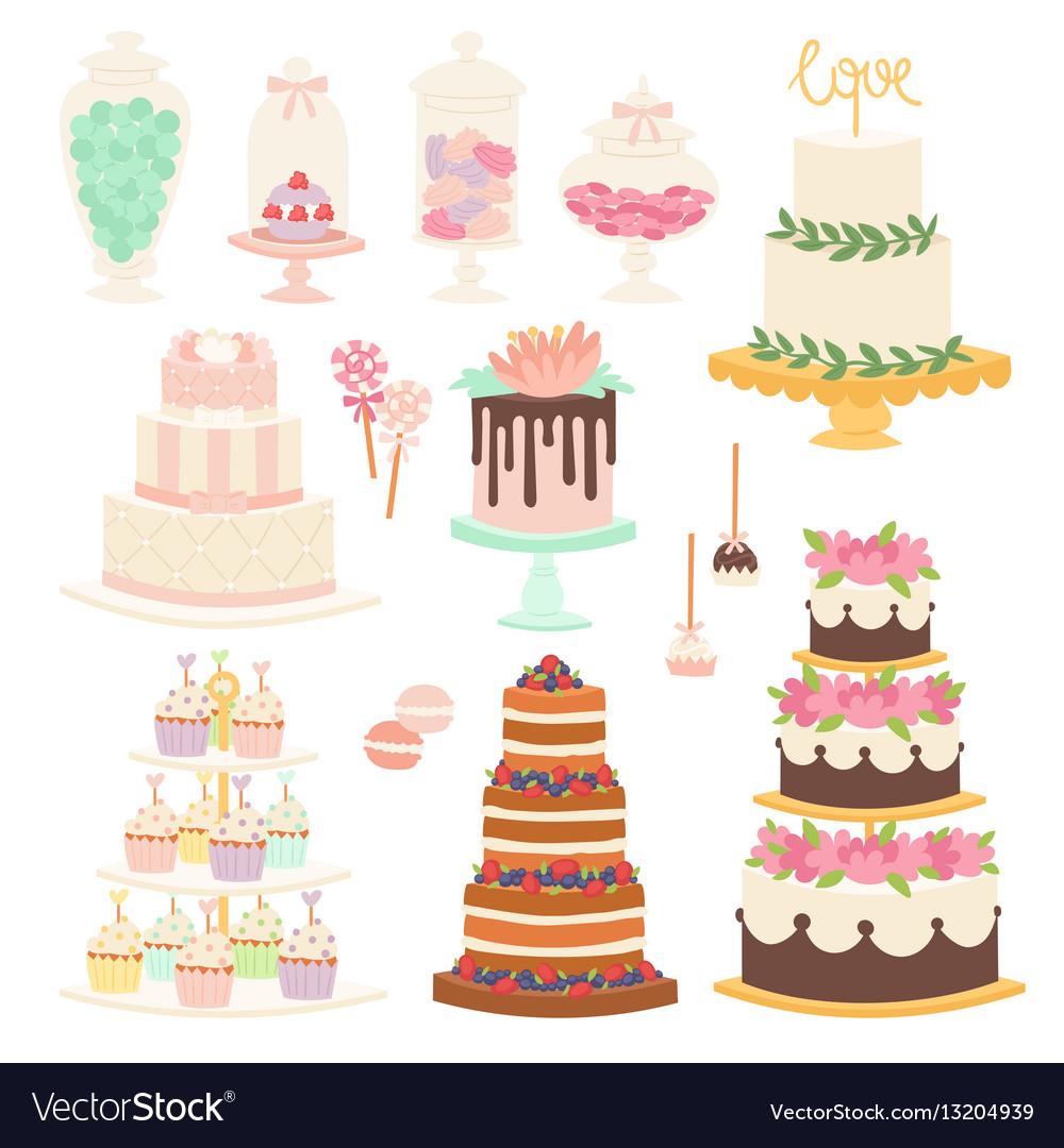 Wedding cake pie cartoon style isolated