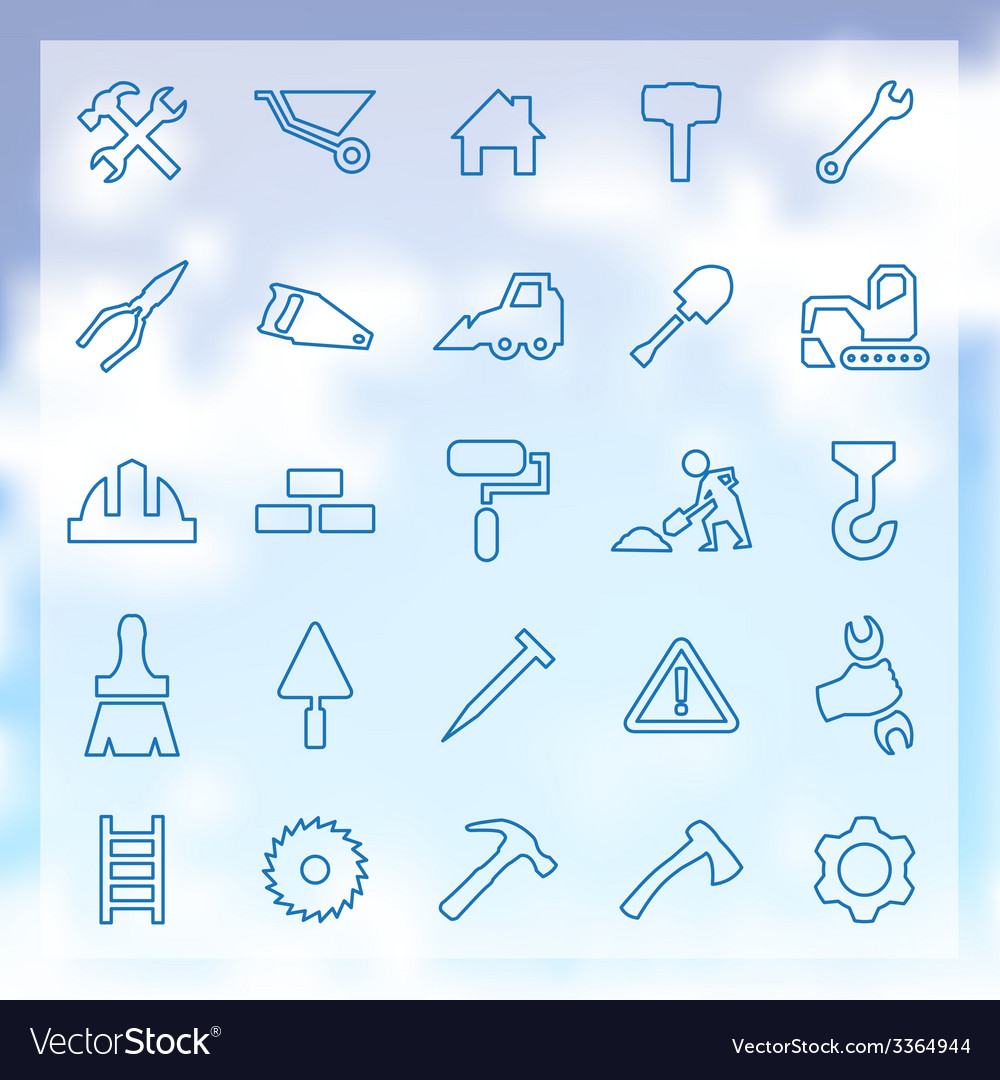 25 construction icons set vector image