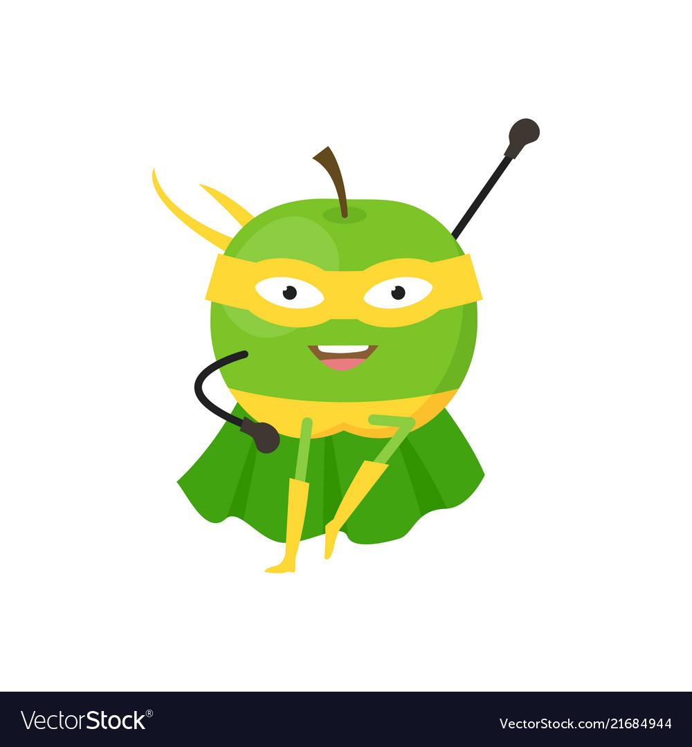 Cartoon superhero character green apple flat