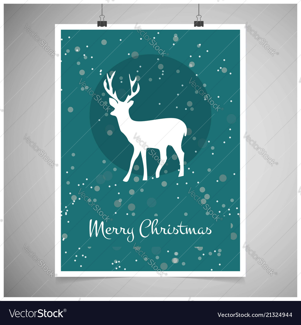 Christmas card with snowy background and reindeer