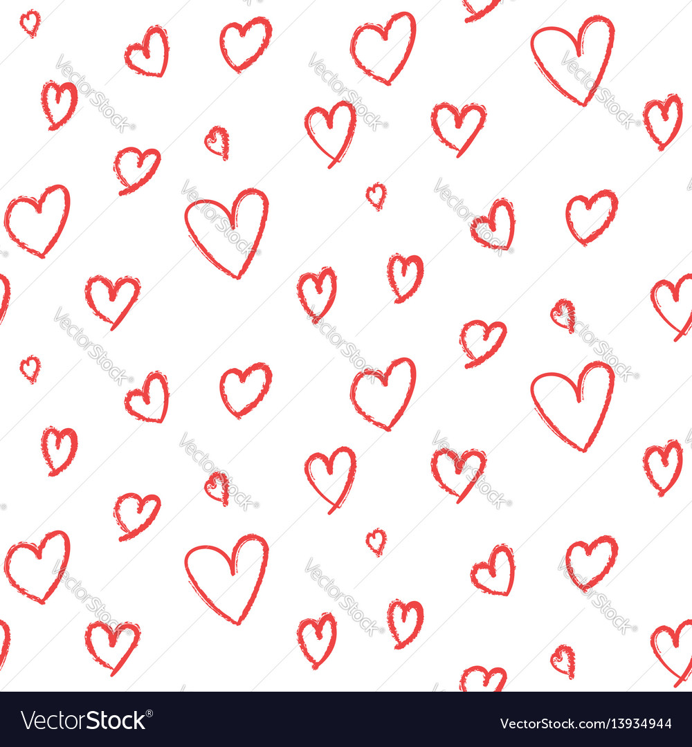 Cute hand drawn hearts pattern vector image