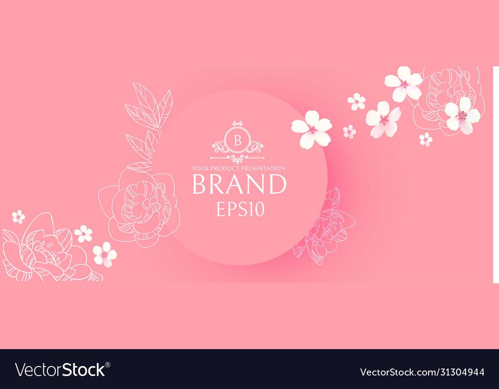 Elegant circle banner with hand drawn elegant