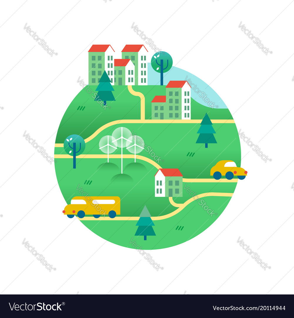 Green world with houses and eco friendly transport vector image