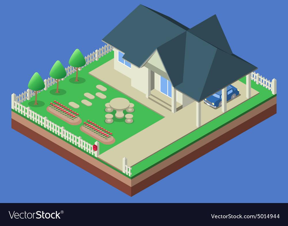 Isometric house and garden yard