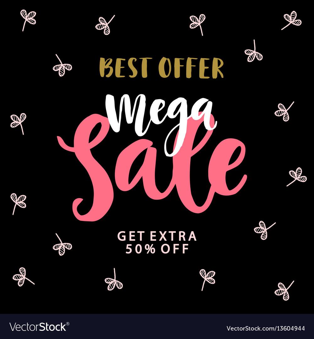 Mega sale banner template vector image