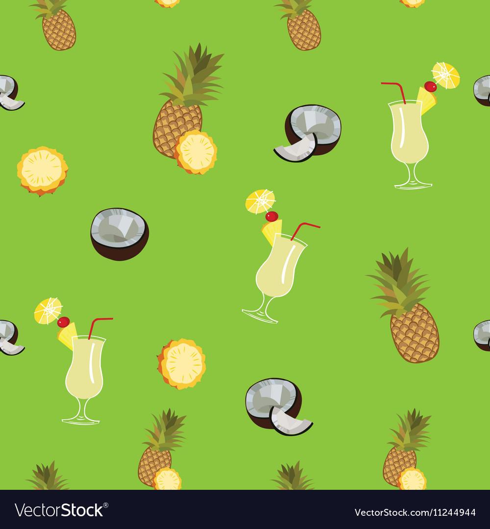 Pina Colada green seamless pattern Pineapple