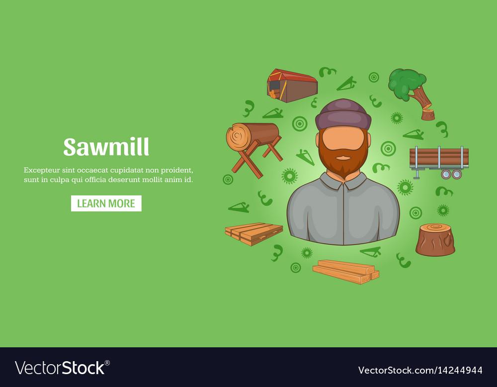 Sawmill banner horizontal cartoon style