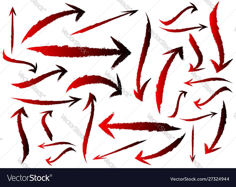 Set different grunge brush arrows pointers