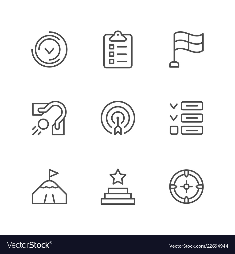Set line icons of goal