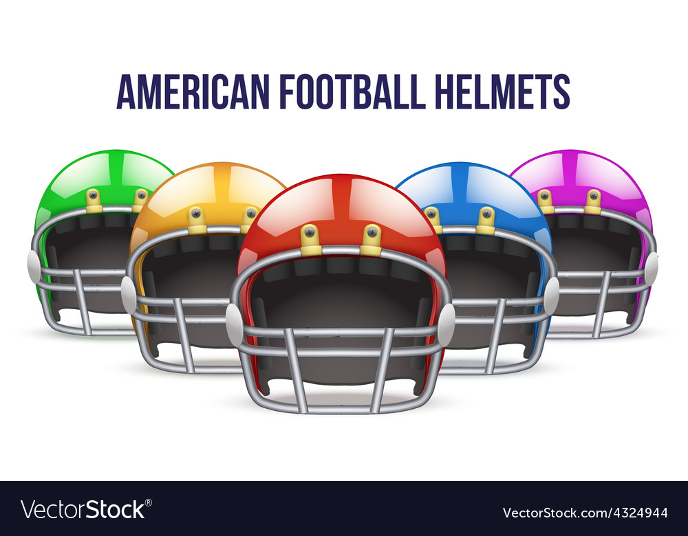Set of Realistic American football helmet Front