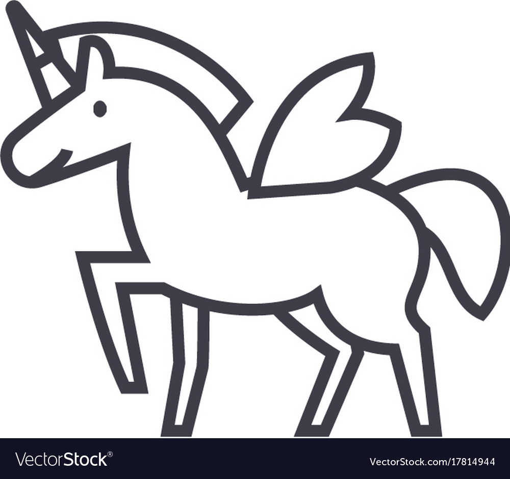 Unicorn line icon sign on