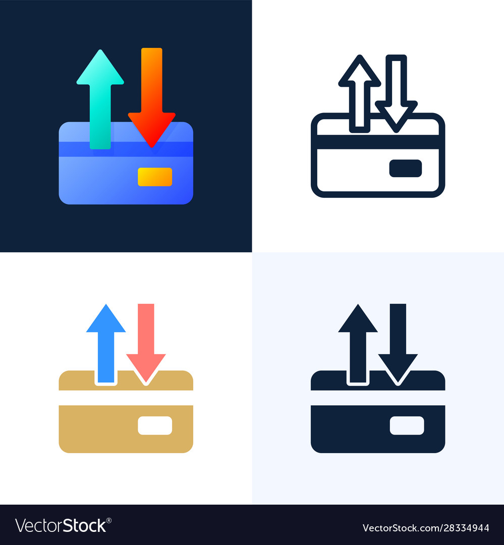 Up and down arrows credit card stock icon set the