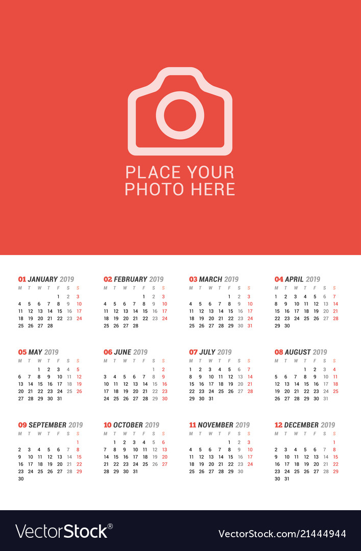 Wall calendar poster for 2019 year print template