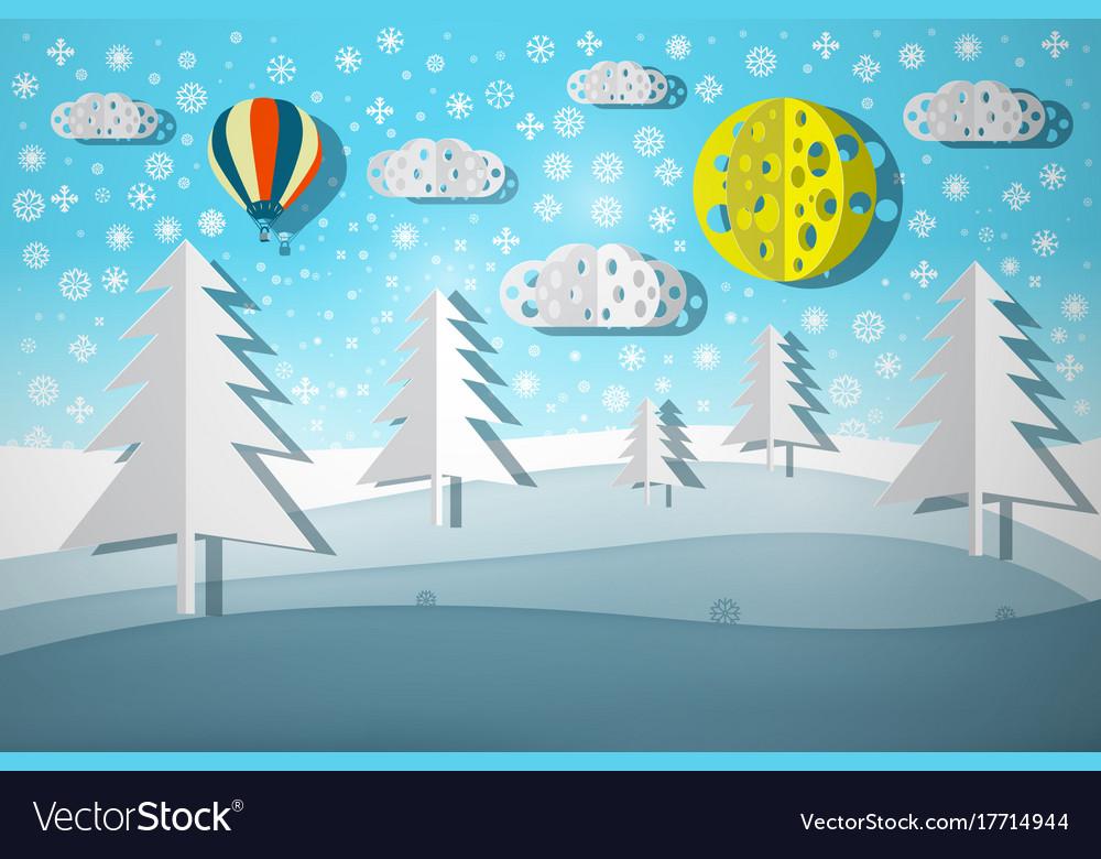 Winter landscape paper cut nature scene
