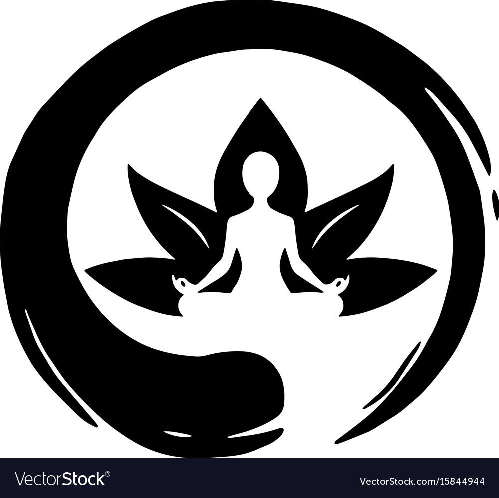 Yoga Lotus With Zen Circle Logo Template Vector Image