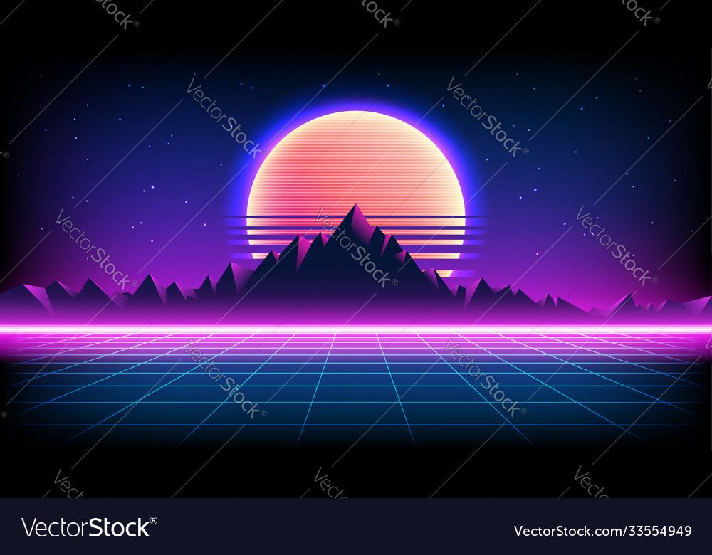 80s retro sci-fi background with sunrise or sunset