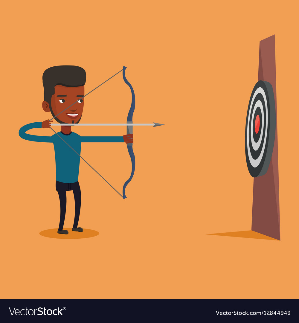 Archer aiming with bow and arrow at the target