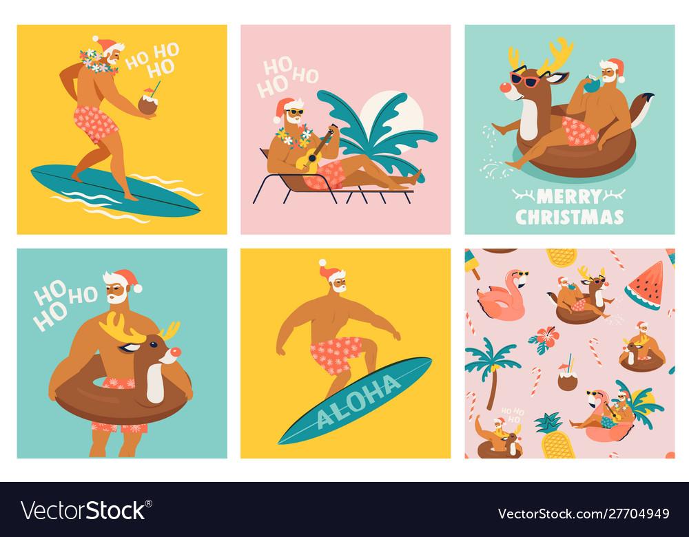 Christmas seamless set card and pattern